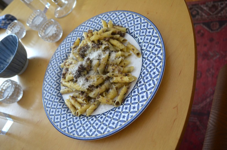Garganelli, mushrooms, truffles, and pecorino